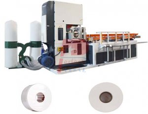 Small jumbo tissue paper rolls cutting band saw machine